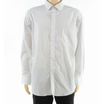 Pocket  ファッション ドレス Club Room Mens Dress Shirt White Size 16 1/2 Pocket Stripe Performance