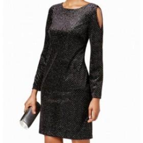 Jessica Howard ジェシカハワード ファッション ドレス Jessica Howard NEW Black Womens 10 Velvet Cold-Shoulder Sheath Dress