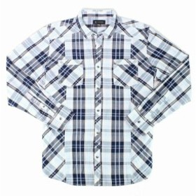 Plaid  ファッション アウター INC Mens Shirt Blue Size Large L Plaid Print Dual Pocket Button Up