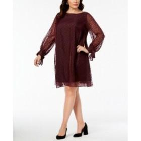 taylor テイラー ファッション ドレス Taylor Womens Dress Maroon Red Size 18W Plus Shift Velvet Polka-Dot