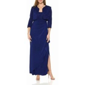 Alex Evenings アレックスイブニングス ファッション ドレス Alex Evenings Womens Dress Blue Size 12 Gown Glitter Jacket Set