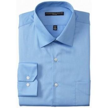 ファッション ドレス Geoffrey Beene NEW Sky Blue Mens Size 16 Fitted Sateen Dress Shirt