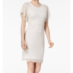 Adrianna Papell アドリアーナ パペル ファッション ドレス Adrianna Papell NEW White Ivory Womens Size 14 Sequined Sheath Dress