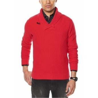 Red  ファッション トップス Sean John NEW Red Mens Size XL Pullover Ribbed Shawl Collar Sweater