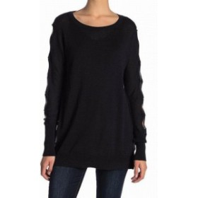 Union ユニオン ファッション トップス 14th & Union Womens Black Size Medium M Cut Out Sleeve Tunic Sweater