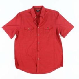 Alfani  ファッション アウター Alfani NEW Solid Tango Red Mens Size XL Two-Pocket Button Down Shirt