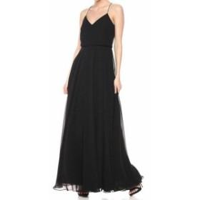 Jenny Yoo ジェニーヨー ファッション ドレス Jenny Yoo Womens Deep Black Size 8 V-Neck Blouson Sheath Dress