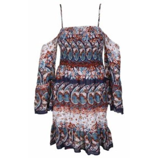 American  ファッション ドレス American Rag teenagers Printed Cold-Shoulder Smoky Waist Dress S