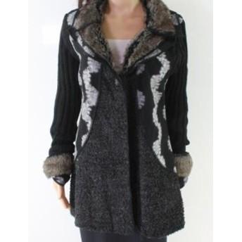ファッション 衣類 Sioni NEW Black Womens Size Large L Faux Fur Printed Buttoned Coat