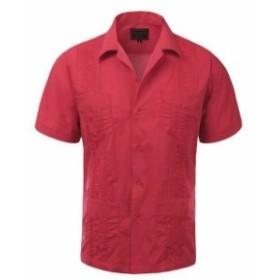 ファッション ドレス Guayabera Mens Cuban Beach Wedding Short Sleeve Button Up Casual Dress Shirt