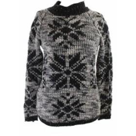 American  ファッション トップス American Rag Black Grey Gloss Snow Flakes Jumper Tunic S