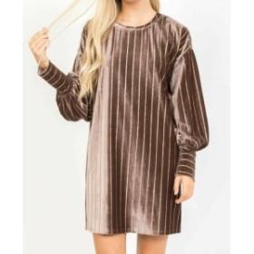Shift  ファッション ドレス Loveriche NEW Brown Womens Size Medium M Velvet Striped Shift Dress