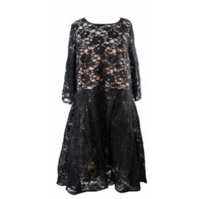 City Chic シティシック ファッション ドレス City chic plus size black lace dress mid-long