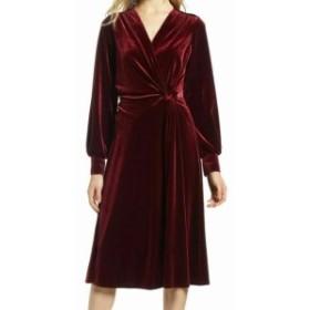 Red  ファッション ドレス Halogen Womens A-Line Dress Red Size XS Velvet Faux-Wrap Twist-Front