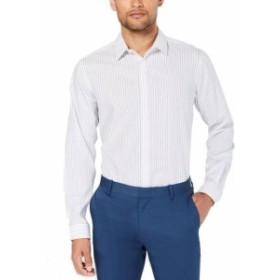 ファッション ドレス INC Mens White Size 3XL Stripe Woven Non Iron Button Up Dress Shirt