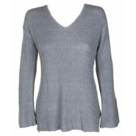 Calvin Klein カルバンクライン ファッション トップス Calvin Klein Dusty Blue Metallic Flare-Sleeve V-Neck Sweater XS
