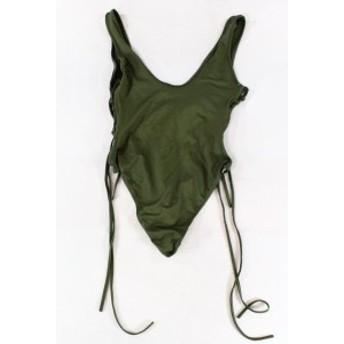 スポーツ用品 スイミング Designer Brand NEW Green Womens Size Medium M Lace Up One-Piece Swimwear