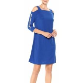 Royal  ファッション ドレス MSK NEW Royal Blue Womens Size Medium M Cold Shoulder Shift Dress