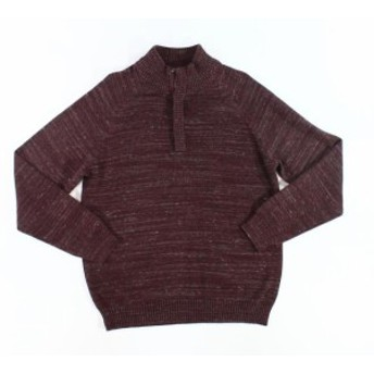 Weatherproof ウォータープルーフ ファッション トップス Weatherproof Men Burgundy Red Size XL Long Sleeve Knitted 1/2 Zip Cotton