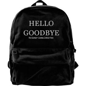BEATLES ビートルズ HELLO, GOODBYE リュックサック キャンバス メンズ リュック バックパック ショルダーバッグビジネスリュック カジュアル DIY可能 オシャレ大容量 お出かけ 通学 通勤 旅行 ブラック ユニセックス