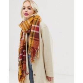 エイソス レディース マフラー・ストール・スカーフ アクセサリー ASOS DESIGN long tobacco check scarf with tassels Brown