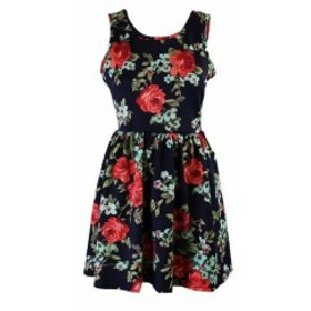 Red  ファッション ドレス Crystal Doll Juniors Navy Red Floral Print A-Line Dress M