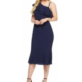 London Times ロンドンタイムズ ファッション ドレス London Times Womens Dress Navy Blue 12 Sheath Ruffled Asymmetrical