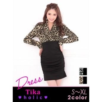 【Tika ティカ】レオパードカシュクールタイトミニドレス[ベージュx黒/グレーx黒][S/M/L/XL]