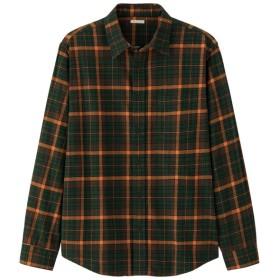 (GU)フランネルチェックシャツ(長袖)G DARK GREEN S