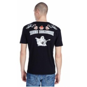 Religion  ファッション トップス True Religion Mens Embroidered Floral Buddha Logo Tee T-Shirt