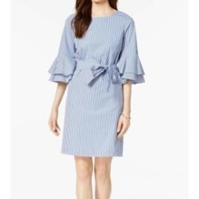 Nine West ナインウエスト ファッション ドレス Nine West Blue White Womens Size 2 Bell-Sleeve Striped Sheath Dress