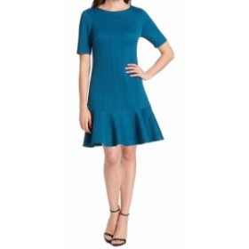 Jessica Howard ジェシカハワード ファッション ドレス Jessica Howard Womens Teal Blue Size 16 Textured Ruffle-Hem Sheath Dress