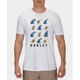 Hurley ハーレー ファッション トップス Hurley Mens T-Shirt White Blue Short-Sleeve Size XL Tee Fin Face Crewneck #196