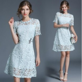 Komarov コマロフ ファッション ドレス Komarov NEW Blue Womens Size Large L Lace A-Line Cap Sleeve Dress