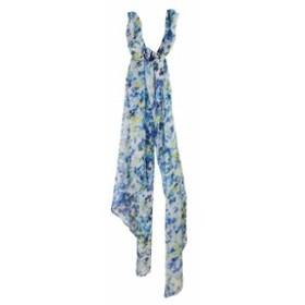 Calvin Klein カルバンクライン ファッション 小物 Calvin Klein Blue Yellow Floral Leaf Print Crinkled Chiffon Scarf OS