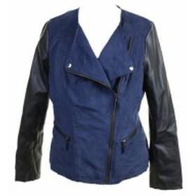 Alfani  ファッション 衣類 Alfani New Navy Faux-Suede Mixed-Media Moto Jacket S