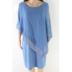 Shift  ファッション ドレス SLNY NEW Blue Womens Size 16 Metallic Cape Chiffon Shift Dress