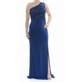 Adrianna Papell アドリアーナ パペル ファッション ドレス Adrianna Papell Blue Size 4 One-Shoulder Sequined Slit Sheath Dress