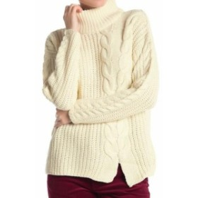 ファッション トップス Poof Womens Beige Size Large L Cable Knit Front Slit Mock Sweater