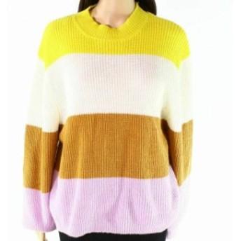ファッション トップス Onetwelfth NEW White Womens Size Medium M Striped Pullover Sweater