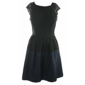ファッション ドレス Emerald SUNDAE Black Navy Lace Sleeveless Fitted with Pleated Skirt