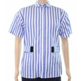 ファッション アウター STANDARD ISSUE FOR LABORATORY NEW Blue Mens Large L Stripe Button Down