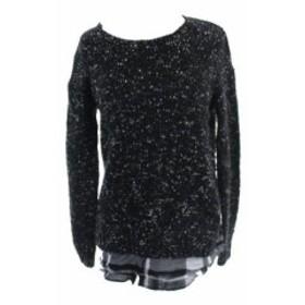 kensie ケンジー ファッション トップス Kensie New Black Long-Sleeve Nep-Knit Layered-Look Sweater XS