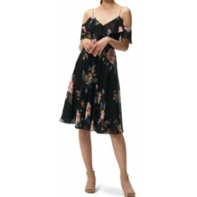 Jenny Yoo ジェニーヨー ファッション ドレス Jenny Yoo Womens Black Size 2 Floral Cold Shoulder Sheath Dress