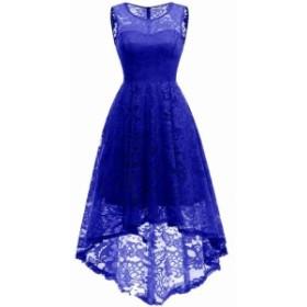 ファッション ドレス MUADRESS Womens Blue Size Medium M Floral Lace High Low Sheath Dress