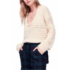 Free People フリーピープル ファッション トップス Free People NEW Beige Womens Size XS Open-Weave Knit V-Neck Sweater