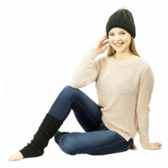 アクセサリー  Exotic Identity Pom Pom Hat and Leg Warmers Cable Knit 2-Piece Gift Set Breck...