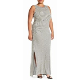 Bobeau ボビュ ファッション ドレス Bobeau NEW Gray Womens Size 2X Plus Stripe Scoop Neck Maxi Dress