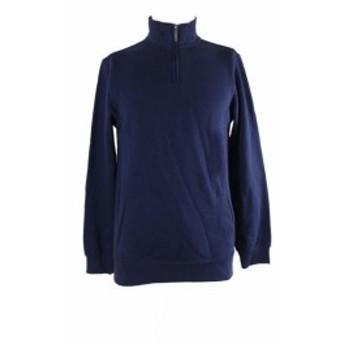 ファッション アウター Club room navy blue 1/4-zip jersey s