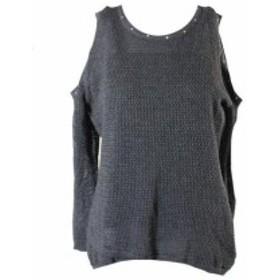 ファッション ドレス Thalia Sodi Grey Studded Cold-Shoulder Sweater L